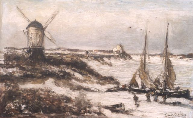 Louis Apol | A winter landscape with moored sailing vessels, oil on canvas, 31.8 x 50.0 cm, signed l.r.