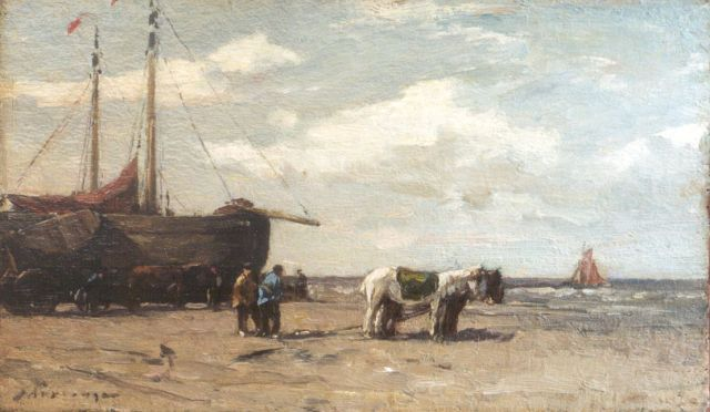 Johannes Evert Hendrik Akkeringa | 'Bomschuiten' and figures on the beach, oil on panel, 14.3 x 24.3 cm, signed l.l.