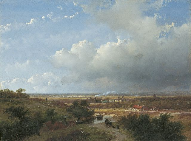 Andreas Schelfhout | The first Dutch steam train between Haarlem and Leiden, oil on panel, 25.0 x 33.2 cm, signed l.l. and dated '53