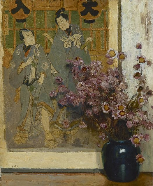 Louis Albert Roessingh | A vase with dried flowers in front of a Japanese print, oil on panel, 42.2 x 34.3 cm, signed l.l.