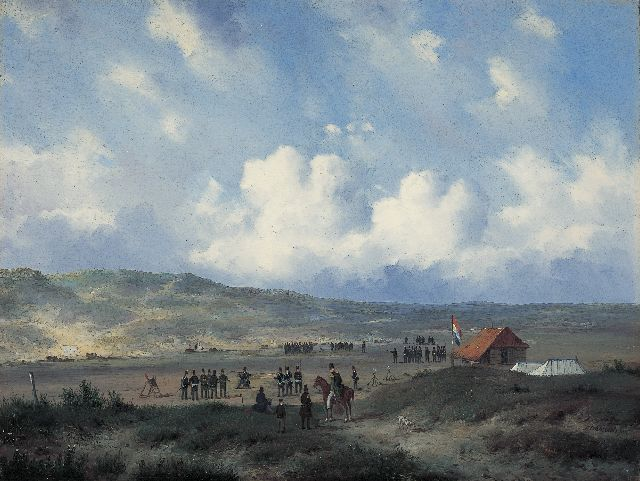 Carl Eduard Ahrendts | Infantry at the shooting-range in the dunes near Waalsdorp, oil on panel, 33.0 x 43.7 cm, gesigneerd r.o. and te dateren na 1840