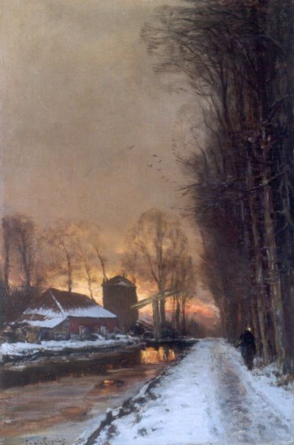 Louis Apol | A winter landscape with a  traveller on a path at dusk, oil on canvas, 60.1 x 40.2 cm, signed l.l.