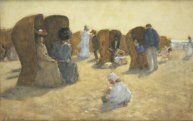 Floris Arntzenius | Elegant bathers on the beach of Scheveningen, watercolour on paper, 34.7 x 53.9 cm, signed l.l. and painted 1904-1906