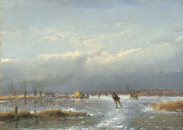 Andreas Schelfhout | A winter landscape with skaters and a 'koek-en-zopie' on the ice, oil on panel, 17.3 x 24.1 cm, signed l.l. and painted between 1866-1868