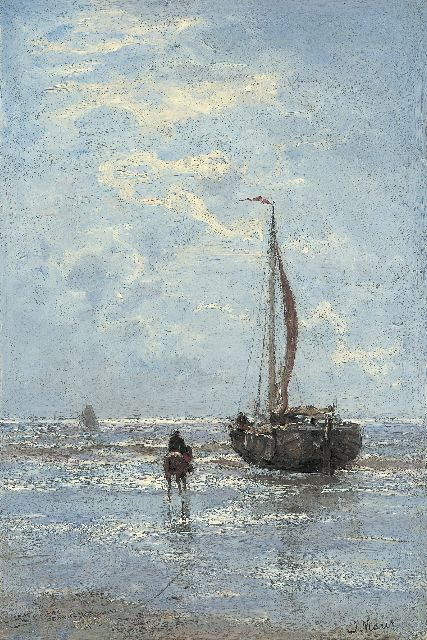 Jacob Maris | 'Bomschuit' on the beach, oil on canvas, 44.0 x 29.8 cm, signed l.r.