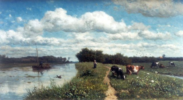 Roelofs W.  | A canal near Schiedam, oil on panel, 35.3 x 63.2 cm, signed l.r. and painted in 1867