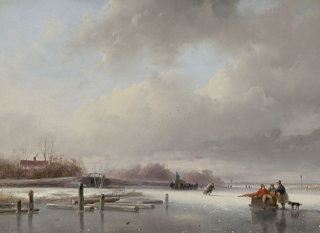 Andreas Schelfhout | Frozen river with skaters and a koek and zopie, oil on panel, 29.5 x 40.0 cm, signed l.l. and painted ca. 1832-1834