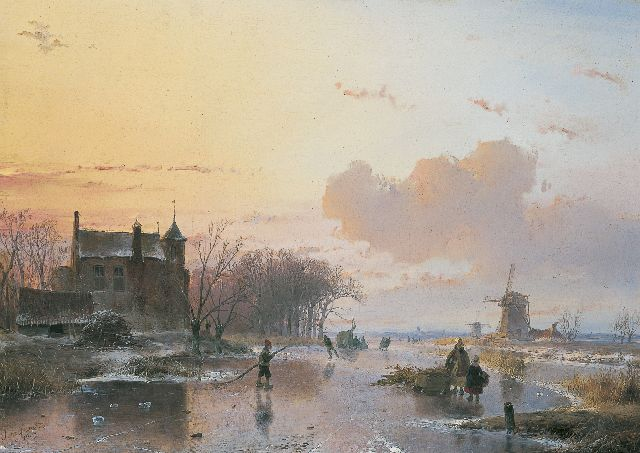 Andreas Schelfhout | A frozen river with wood-gatherers, oil on panel, 38.5 x 49.8 cm, signed l.l. and dated 1845