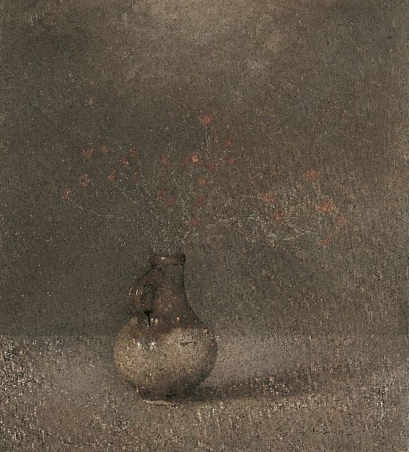 Jan Mankes | A jar with bottle heath, oil on canvas, 40.5 x 36.5 cm, signed l.r. and dated 1911