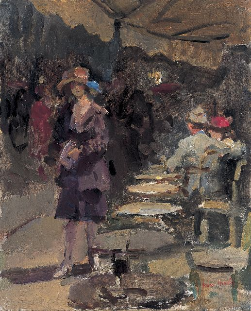 Isaac Israels | Outdoor café, oil on canvas, 46.0 x 38.2 cm, signed l.r.