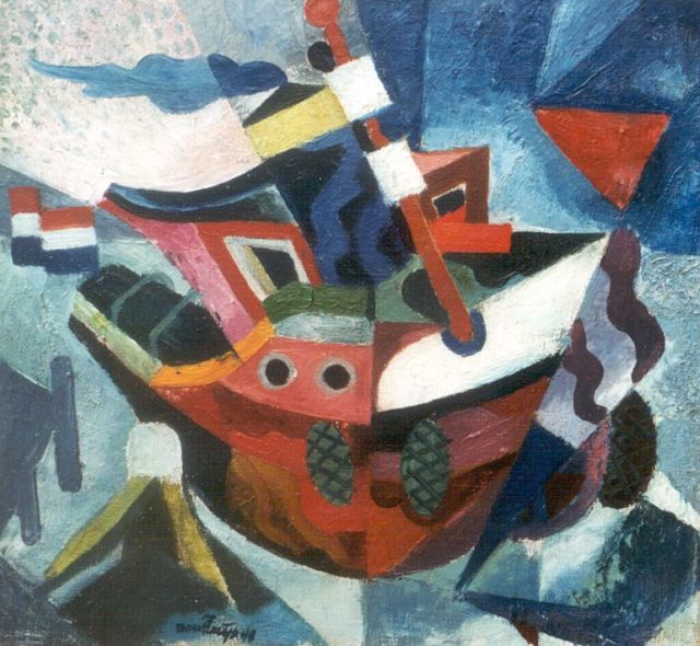 Jaap Bouhuijs | Towboat, oil on canvas, 26.0 x 27.9 cm, signed c.l. and dated '45