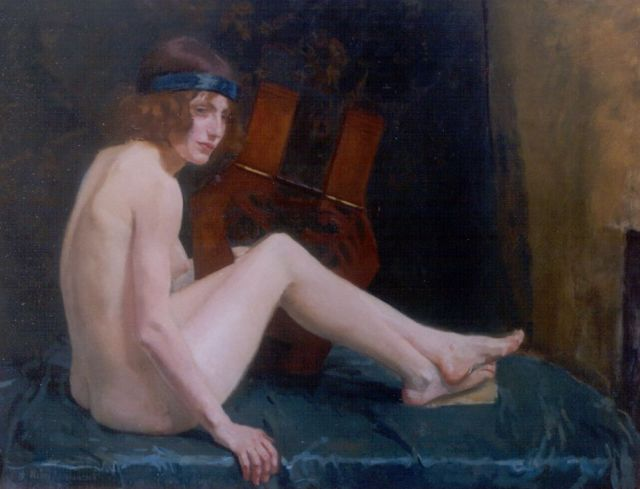 Henri Braakensiek | A female nude with a lyre, oil on canvas, 101.0 x 131.0 cm, signed l.l. and dated '14