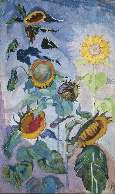 Henri Braakensiek | Sunflowers, oil on canvas, 122.8 x 70.5 cm, signed l.r. and on the reverse with initials and dated 1918 on the reverse