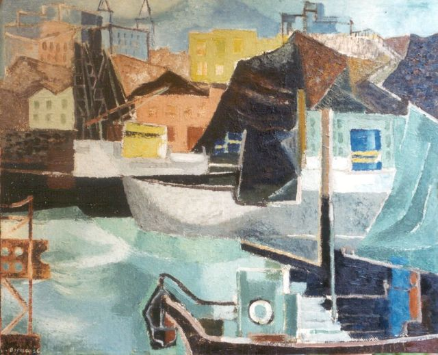Wim Bosma | Composition Harbour Göteborg, oil on board, 49.5 x 60.9 cm, signed l.l. and dated '56