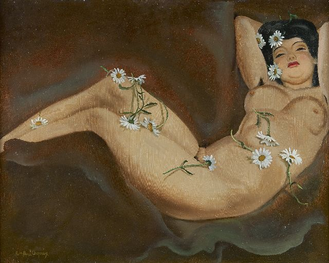 René Choprix | A reclining Marquerite, oil on board, 50.0 x 61.0 cm, signed l.l. and on the reverse