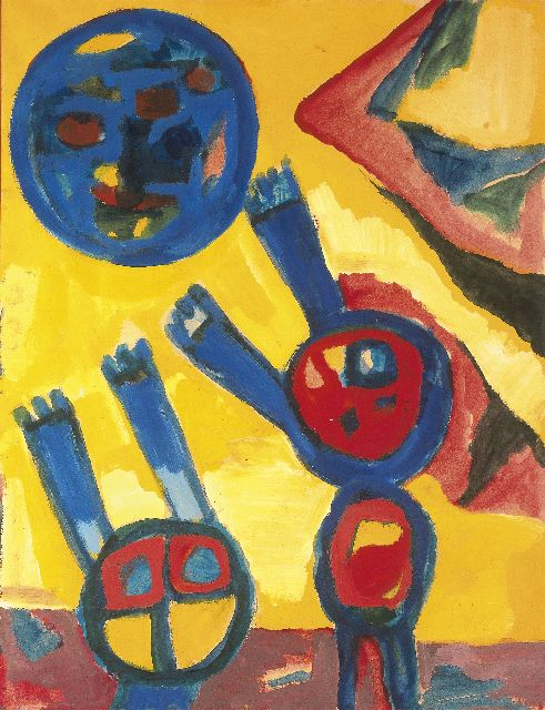 Gerrit Benner | Children at play, gouache on paper, 65.3 x 50.0 cm, signed l.r.