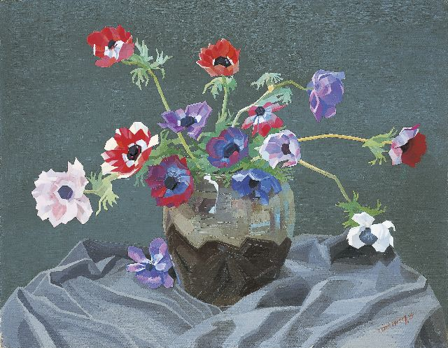 Smorenberg D.  | Anemones in a vase, oil on canvas 55.2 x 70.5 cm, signed l.r. and dated '25