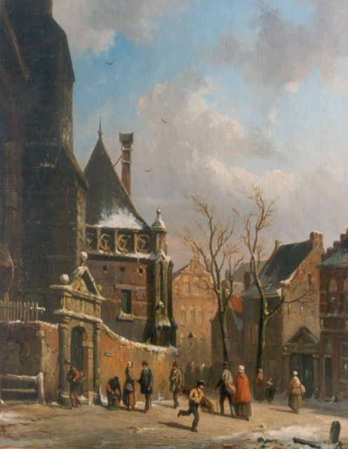 Adrianus Eversen | A town in winter, oil on panel, 30.0 x 23.6 cm, signed l.r.