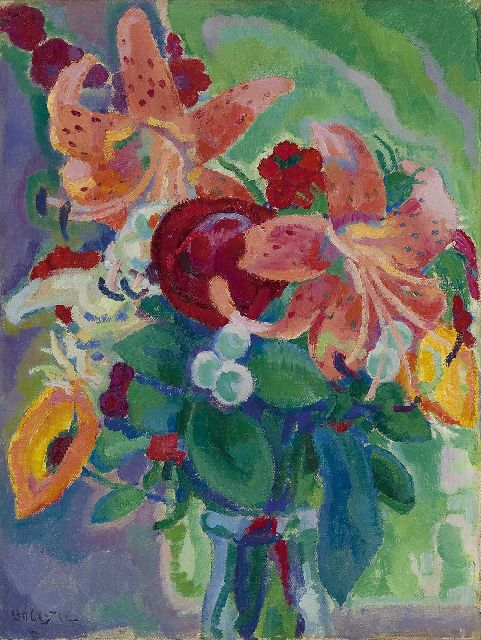 Leo Gestel | Flower still life with tiger lilies, oil on canvas, 33.3 x 25.3 cm, signed l.l. and painted ca. 1912-1913