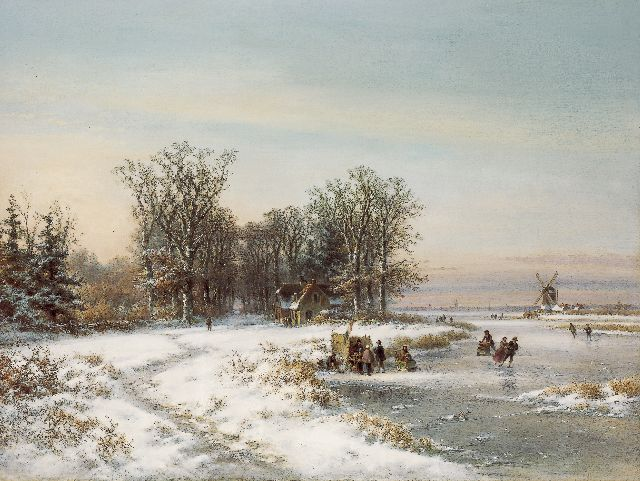 Lodewijk Johannes Kleijn | Skaters on the ice, oil on canvas, 90.1 x 120.1 cm, signed l.l.