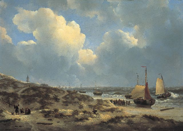 Johannes Christianus Schotel | Unloading the catch on the beach of Scheveningen, oil on panel, 65.1 x 90.7 cm, signed l.l.