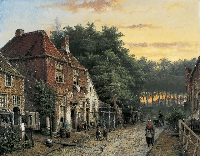Willem Koekkoek | Figures in a Dutch town, oil on canvas, 53.9 x 69.0 cm, signed l.l. and l.r.