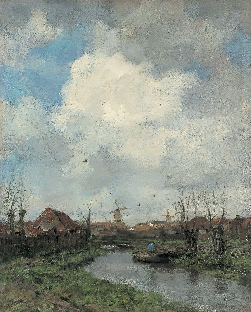 Jacob Maris | Landschap in de omgeving van Den Haag, oil on canvas, 99.2 x 80.2 cm, gesigneerd l.o. and te dateren ca. 1891