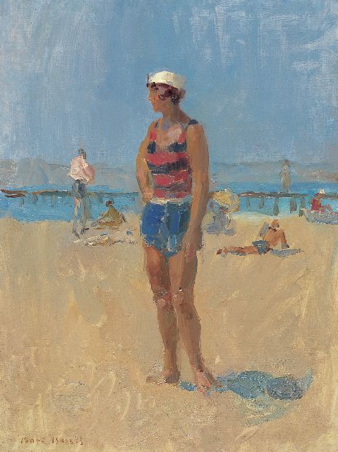Israels I.L.  | A lady on the beach of Aix-les Bains, oil on canvas, 60.2 x 45.3 cm, signed l.l.