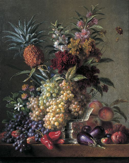 Georgius van Os | A still life with fruits and flowers, oil on canvas, 92.5 x 73.3 cm, signed l.r. and dated 1836