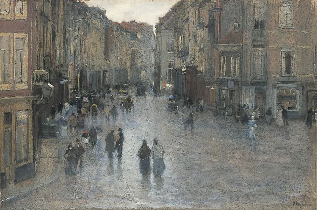 Floris Arntzenius | A view of the Wagenstraat, The Hague, watercolour and gouache on paper, 40.4 x 60.1 cm, signed l.r.