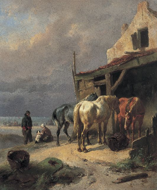 Wouterus Verschuur | Draught horses at rest by the beach, oil on panel, 27.1 x 22.5 cm, signed l.r.