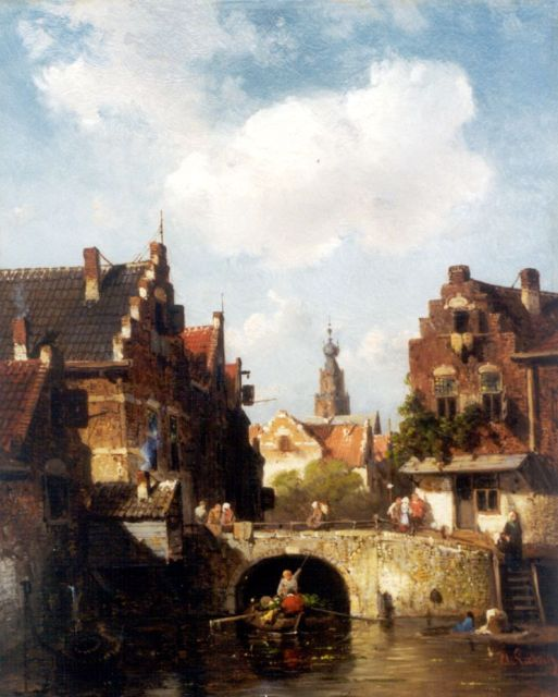 Charles Leickert | View of a canal, with a church beyond, oil on panel, 28.0 x 21.7 cm, signed l.r.