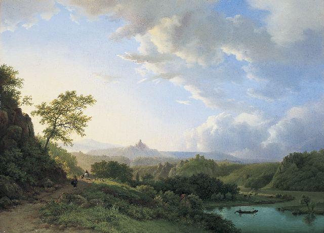 Barend Cornelis Koekkoek | The river Rhine, Germany, oil on panel, 37.9 x 52.0 cm, signed l.l. and dated 1835