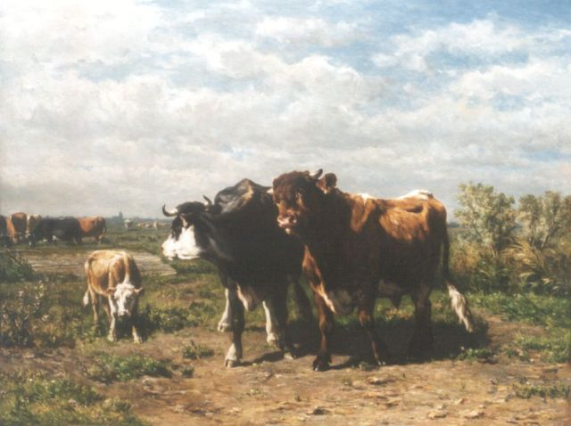 Jan de Haas | Cows in a meadow, oil on panel, 70.2 x 92.2 cm, signed l.r. and dated  'Bruxelles Juillet 1872' on the reverse