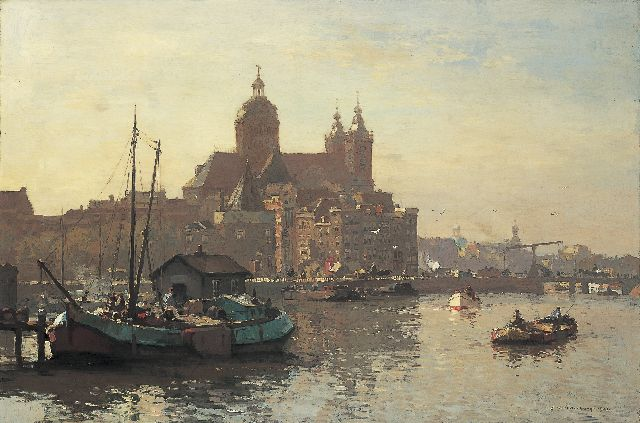 Cornelis Vreedenburgh | A view of the IJ with the 'St. Nicolaaskerk', Amsterdam, oil on canvas, 60.6 x 90.8 cm, signed l.r. and dated 1927