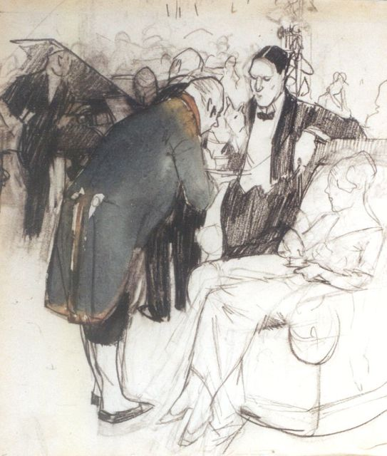 Leo Gestel | The party, black chalk and watercolour on paper, 21.4 x 18.1 cm