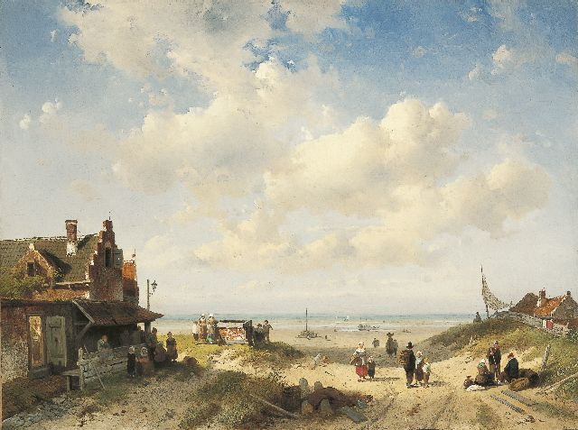 Charles Leickert | Fisherfolk from Scheveningen, oil on canvas, 45.8 x 61.4 cm, signed l.r. and indistinctly dated (?)9
