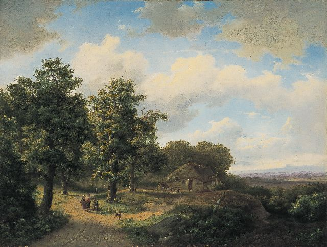 Koekkoek I M.A.  | Travellers on a country lane, oil on canvas 46.7 x 61.7 cm, signed l.l. and dated 1864