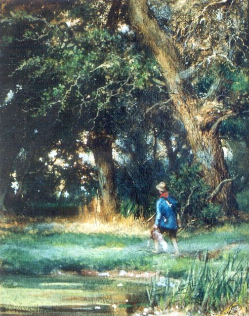 Louis Apol | A hunter in a wooded landscape, watercolour on paper, 39.0 x 31.0 cm, signed l.r. and painted circa 1865