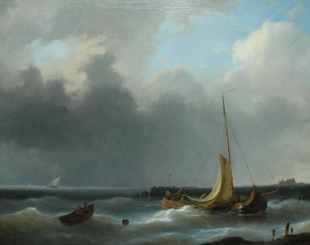 Abraham Hulk | Returning to the harbour in a storm, oil on canvas, 48.3 x 60.3 cm, signed l.r.