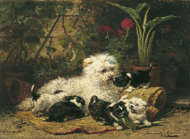 Henriette Ronner-Knip | A terrier with puppies, oil on panel, 32.9 x 45.0 cm, signed l.r.
