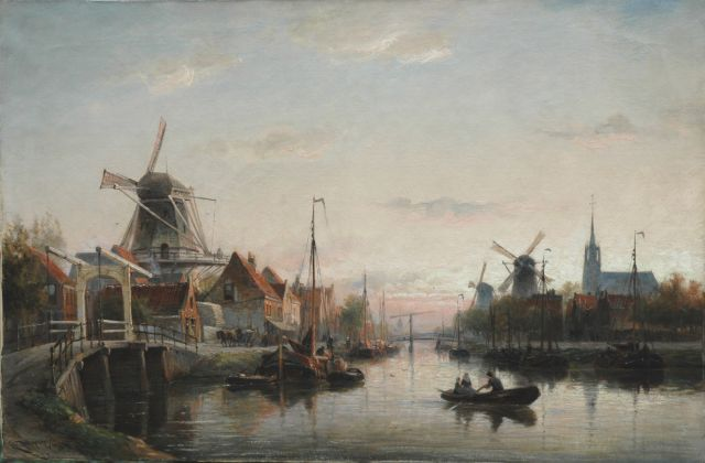 Cornelis Christiaan Dommelshuizen | An evening landscape, Maassluis, oil on canvas, 52.2 x 79.1 cm, signed l.l. and dated 1897