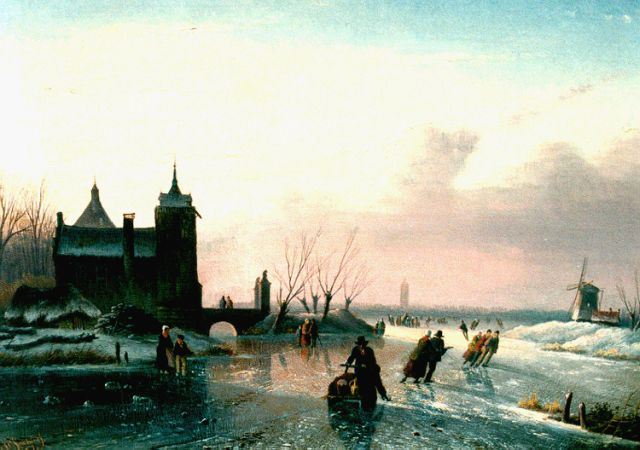 Jacob Jan Coenraad Spohler | Skaters on a frozen waterway, oil on canvas, 25.6 x 34.7 cm, signed l.l. and dated '57