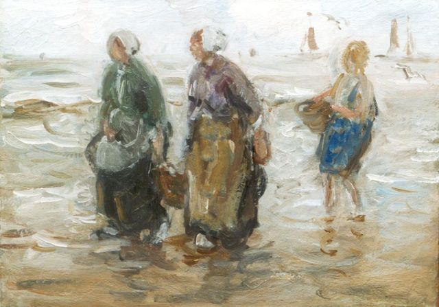Jan Zoetelief Tromp | Fisherwomen in the surf, oil on canvas, 25.0 x 35.5 cm