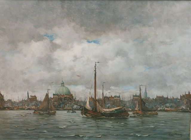 Kees van Waning | A view of the IJ Amsterdam, oil on canvas, 80.0 x 110.0 cm, signed l.r.