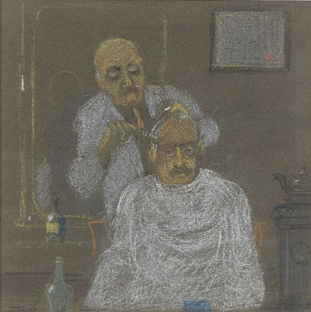Harm Kamerlingh Onnes | At the hairdresser's, pastel and ballpoint on paper, 25.5 x 25.5 cm, signed l.l. and l.r. with monogram and dated '75