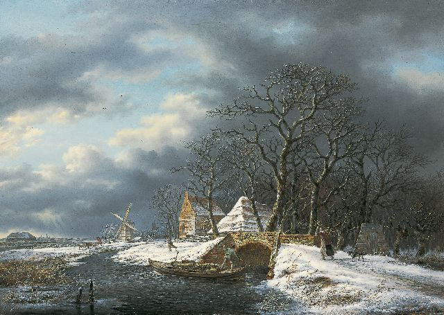 Andreas Schelfhout | A winter landscape with a wood-gatherer and a farmer in a boat, oil on panel, 51.0 x 73.0 cm, signed right of the centre and painted circa 1815