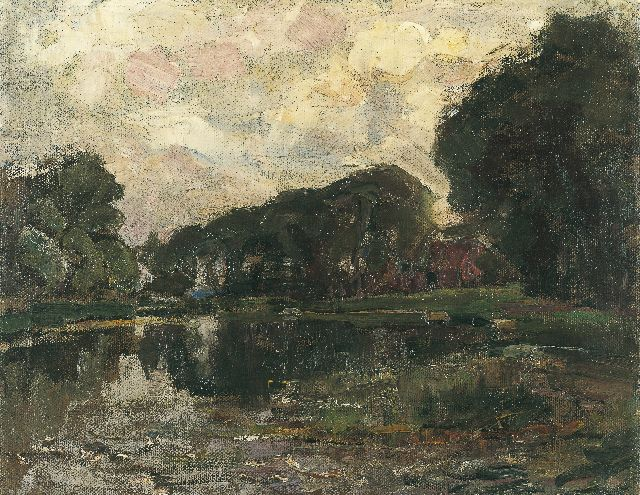 Mondriaan P.C.  | Farmstead with long row of trees on the Gein, oil on canvas, 35.8 x 45.3 cm, painted in 1905-1907