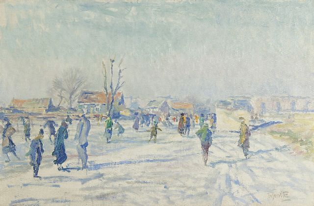 Hendrik Jan Wolter | Skaters on the Boerenwetering, Amsterdam, oil on canvas, 40.5 x 60.6 cm, signed l.r. and carries studiostamp on the reverse and painted ca 1915