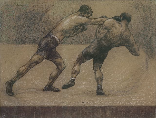 Willy Sluiter | The boxing match between Joe Beckett and Tommy Burns, London 1920, charcoal and pastel on paper laid down on cardboard, 76.3 x 101.5 cm, signed u.l. and on the reverse with artist's stamp and dated London 1920
